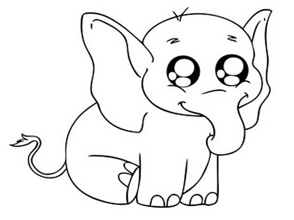 Big Eyed Elephant Coloring Page Elephant Coloring Page Baby Elephant Cartoon Cute Animal Drawings