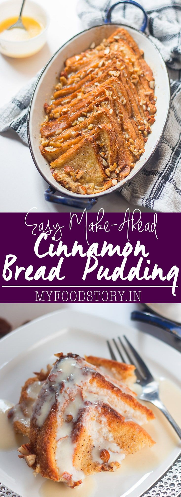 Really easy bread pudding recipe with rum custard sauce is the perfect make ahead dessert for a crowd. Great way to use stale bread too!