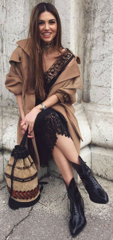 Lace dress + bunched up tan coat + Negin Mirsalehi + beautiful winter style + aztec style bag  Outfit: Alberta Ferretti, Boots: Philosophy.