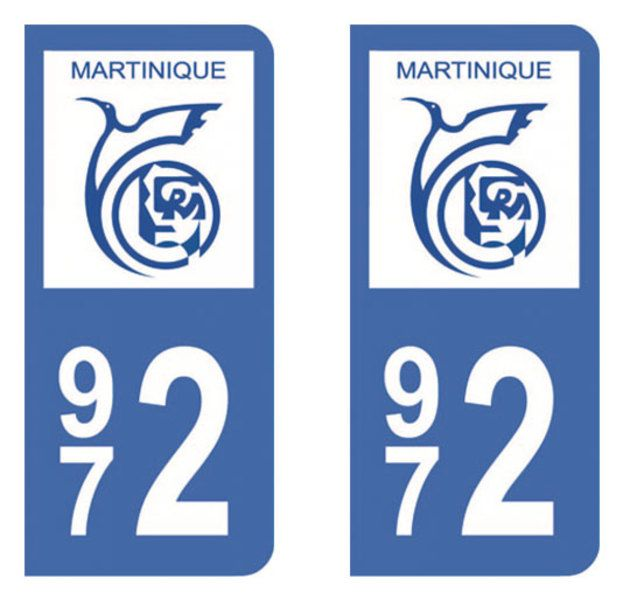 Autocollant plaque immatriculation 972 (Martinique)