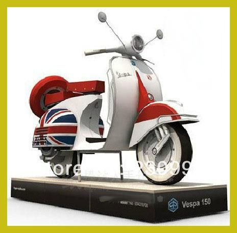 Top Quality High Simulation Classic Vespa 125 motorcycle 3D Paper Craft Model DIY Assembled Rome Holiday Paper Modeling Toy