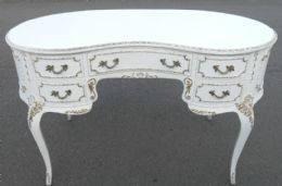 Louis Style Kidney Shaped White Painted Kneehole Writing Desk