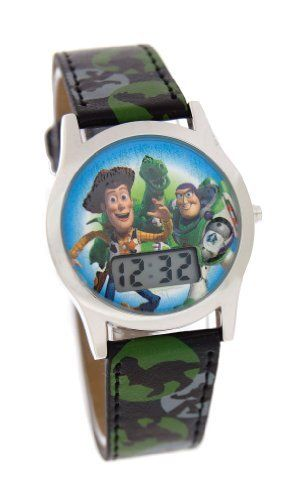Disney Toy Story Digital Watch With Camo Band Model # 41631 by Disney. $13.99. Date-and -Month Functions. Quartz Movement. Toy Story Logo Dail. TOY STORY DIGITAL WATCH AUTHENTIC LICENSED DISNEY DIGITAL LEATHER BAND WATCH. FEATURES CHINA MADE WATCH MOVEMENT ENSURING QUALITY AND ACCURACY. WATCH COMES IN A PAPER PRINTED WINDOW BOX. Length: 3 in. Height: 3.5 in. Width: 2 in.
