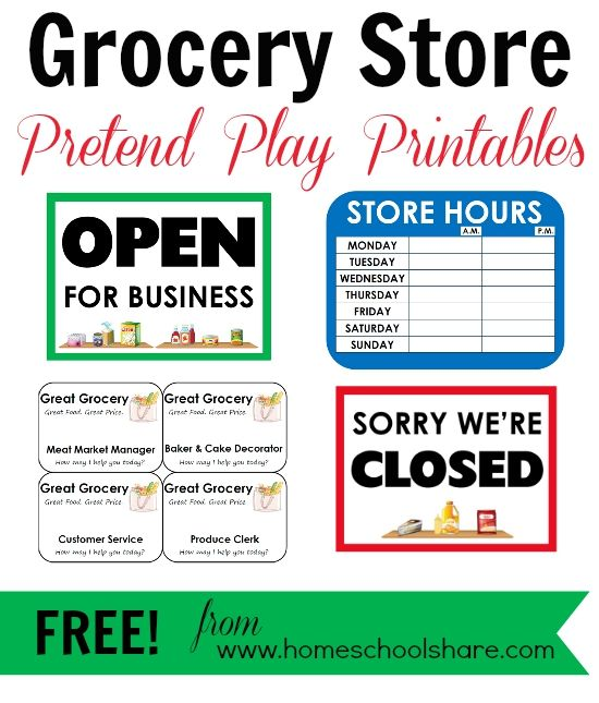 FREE Grocery Store Pretend Play Printables from Homeschool Share More