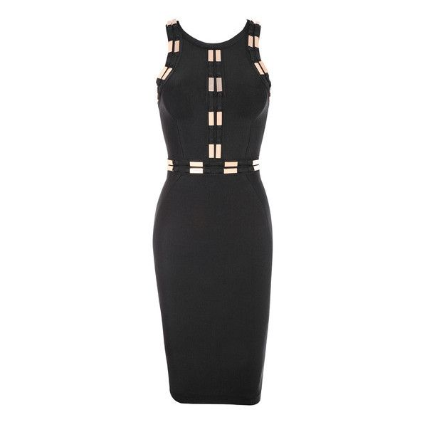 'Flynn' Black Bandage Dress with Gold Embellishments ❤ liked on Polyvore featuring dresses, embellished dress, gold bandage dress, embelished dress, bandage cocktail dresses and gold dress