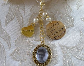 Ivory Swarovski Bead Gold Tone Grandpa Memorial Bouquet Photo Charm Wedding - £10.00 plus p&p