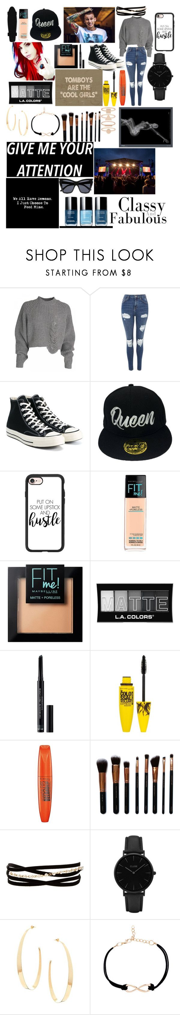"""""""His Girl"""" by snow-queen13 ❤ liked on Polyvore featuring WWE, Topshop, Converse, Lovers + Friends, Casetify, Maybelline, L.A. Colors, Christian Dior, Rimmel and M.O.T.D Cosmetics"""