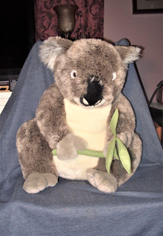 Huge Fao Schwarz 24 Realistic Tan Plush Koala Bear With Eucalyptus