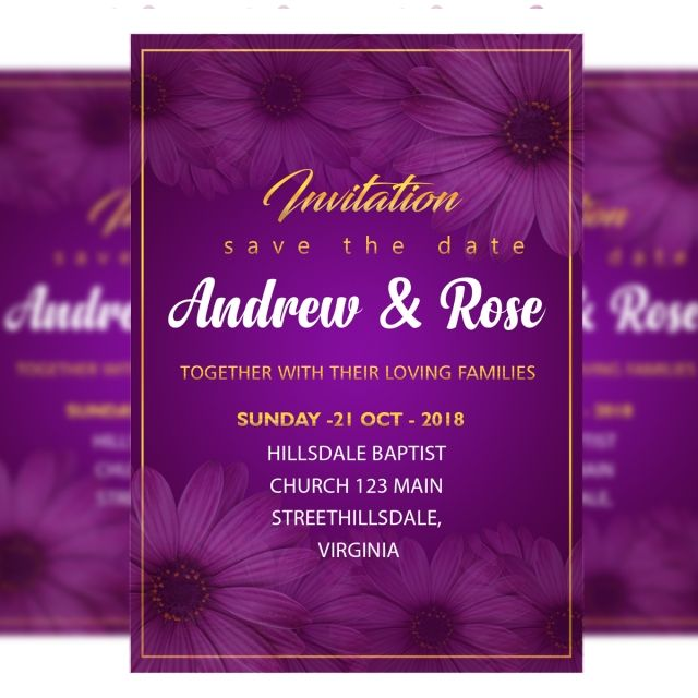 جديد زهرة دعوة زفاف بطاقة قالب لون بنفسجي Wedding Invitation Card Template Flower Wedding Invitation Wedding Invitation Cards
