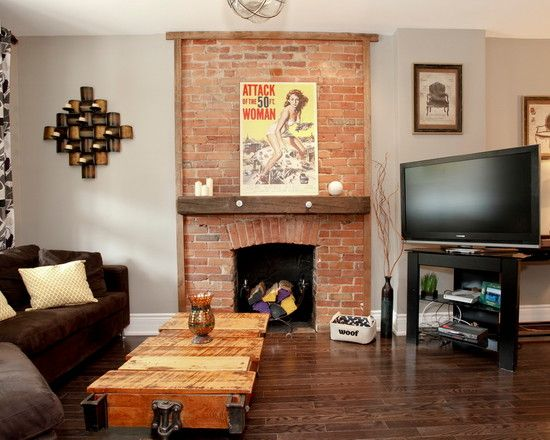 Awesome Brick Fireplace Remodel In Eclectic Living Room Also Yellow