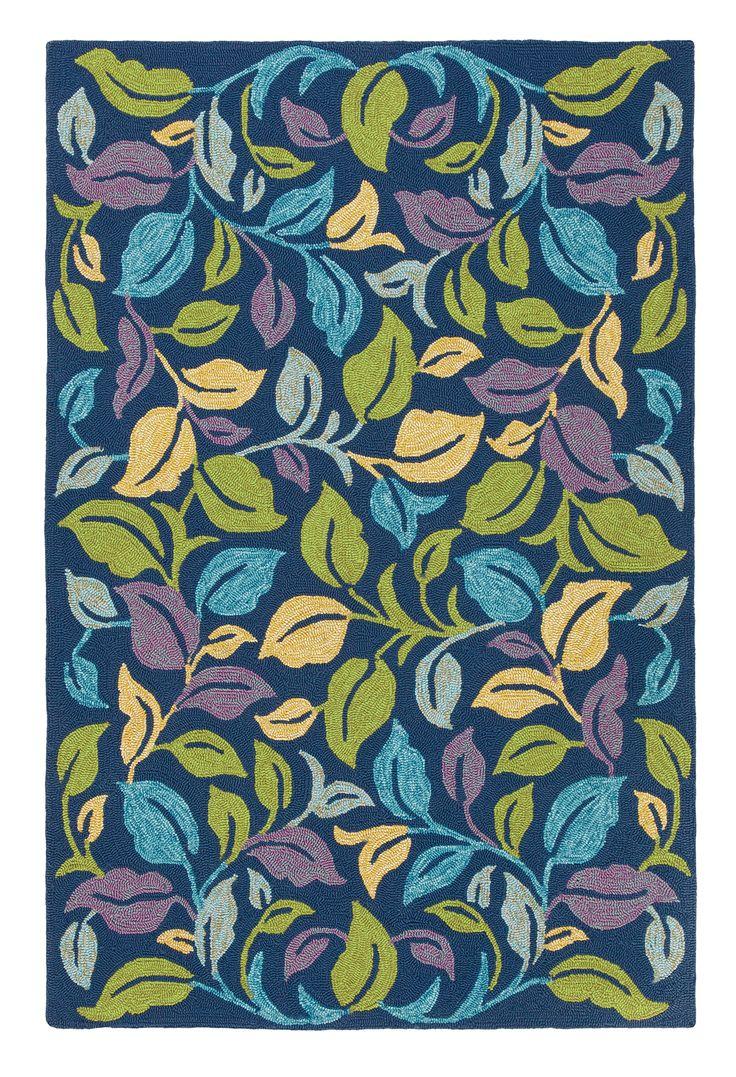 MoonLit ColorSpree Rug In Blue Iris (floral Pattern, Outdoor Rugs)