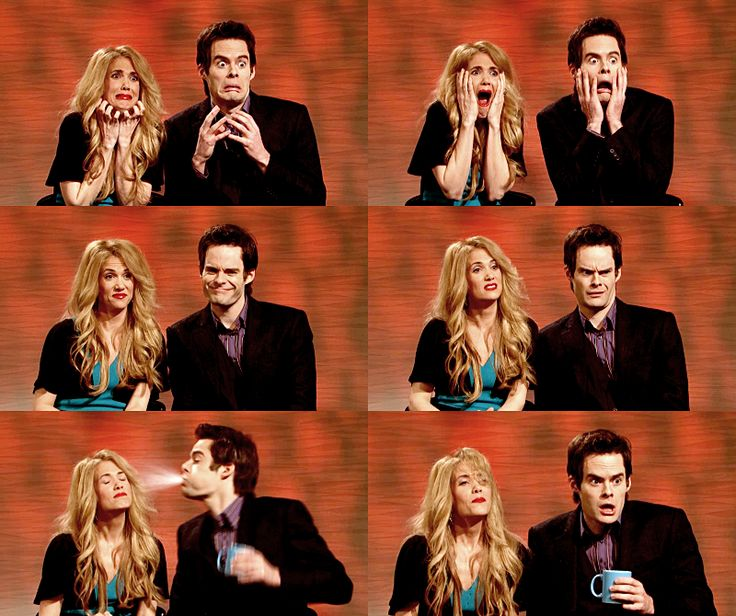 Kristen Wiig and Bill Hader acting as the interviewers for Taylor Swift.