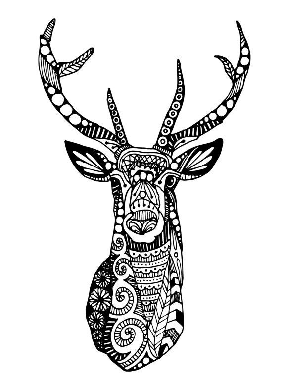 Reindeer Heads Coloring Pages