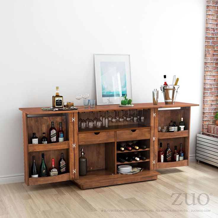 $1,098.00 Zuo Linea Bar Cabinet Bar Cabinet features 2 drawers, wine rack and ample room for glasses and cocktail preparation supplies. Add this to your living room, dining room or home office for a distinctive design statement.