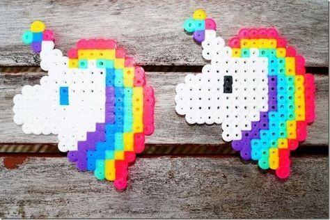 Easter and spring: the most beautiful iron pearl pictures -  Unicorns made of iron beads // Unicorn template for Hama beads  - #beautiful #easter #Iron #MachineQuilting #pearl #PerlerBeads #pictures #QuiltPatterns #Quilting #spring