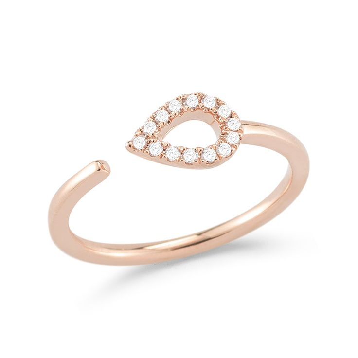 SAMANTHA LYNN: Rose Gold Diamond Teardrop Ring