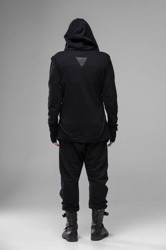 Mens Damen Gothic Punk Hooded Hoodies Jacket Wind Mantel Long Sleeve Sweatshirts
