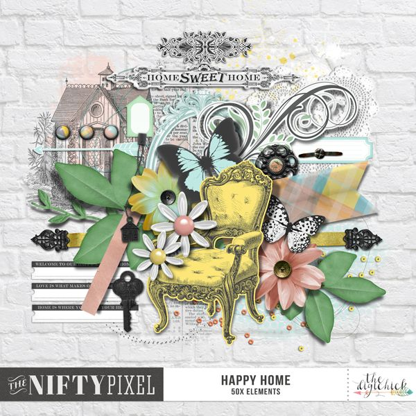 HAPPY HOME | Elements Pack This pack of pretty elements is filled to the brim with all things homely. Including flowers, furniture, brads, foliage, butterflies, ribbon, pennants, frames, gesso, paint splats, brick textures, scatters, tags and tabs just to name a few. With all of these you'll be making some pretty pages about your family and the house you call home.  DOWNLOAD INCLUDES:  50X Mixed Elements All products are saved at 300ppi for optimum printing quality.