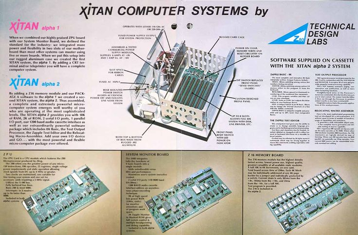 Middle pages of Xitan Alpha 2 brochure.  My kit had the ZPU (Z80 8-bit microprocessor 2-MHz clock) and the SMB (System Monitor Board - booted into 2K Zapple monitor, 2K RAM, 2 serial, 1 parallel ports, 1200 baud audio tape interface for loading/storing files/programs to cassette tape), etc.  You had to attach a serial terminal to one of the serial ports to communicate with it (i.e. teletype, CRT display terminal, etc).: Z80 8 Bit, 8 Bit Microprocessor, 1200 Baud, Monitor, Microprocessor 2 Mhz, Tape, Zpu Z80, Loading Storing Files Programs, 2 Mhz Clock