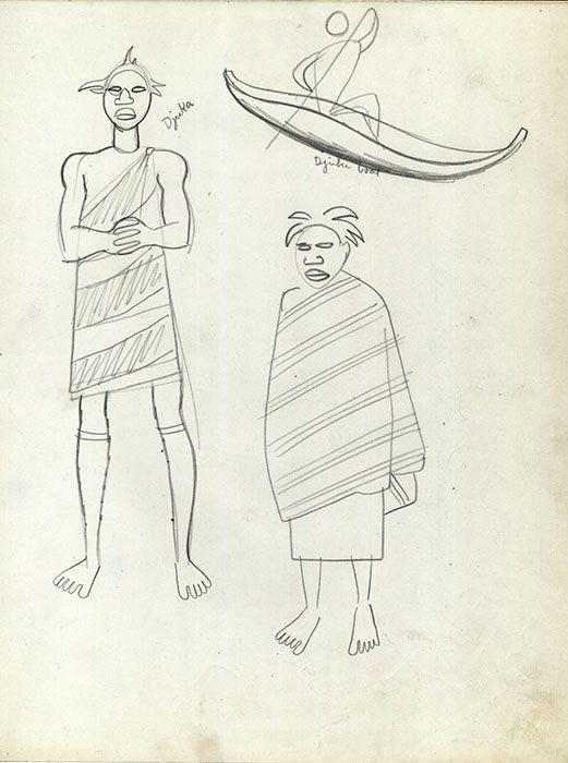 Indios Djuka Se presentan tres figuras, las primeras dos representan a indios Djuka de pie, tienen el cabello peinado en picos, su nariz y labios son gruesos. Uno de ellos, porta una especie de tilma, atada en su hombro izquierdo a la manera de la toga romana, el otro usa un poncho. La tercera figura es una canoa con una especie de prolongación en cada extremo, en su interior se aprecia a un hombre con un remo.