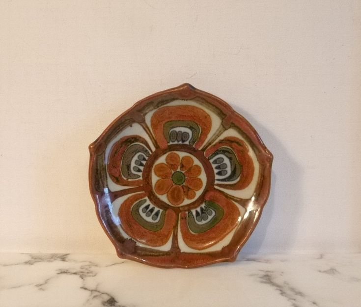 Vintage Mexican Ceramic Plate ~ Mexican Folk Art ~ Lotus Flower Design ~ Signed…