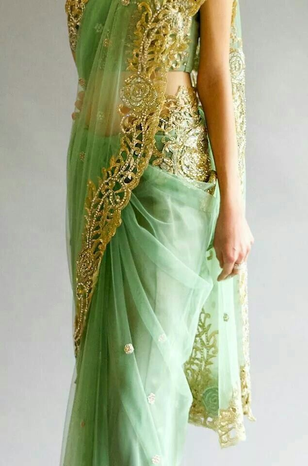 Aqua green saree