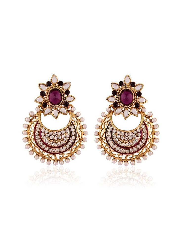 Exquisite gold plated brass metal #Earrings with pearls, #Stones, kundan, mina work. Item Code: JRUM541 http://www.bharatplaza.com/new-arrivals/jewellery.html