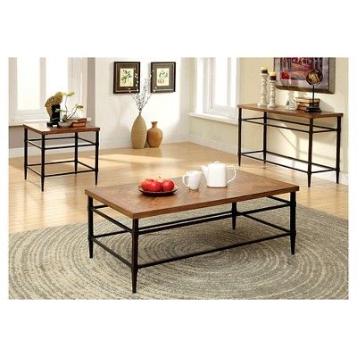 Kassius Console Table Light Oak - Furniture of America, Savory Brown