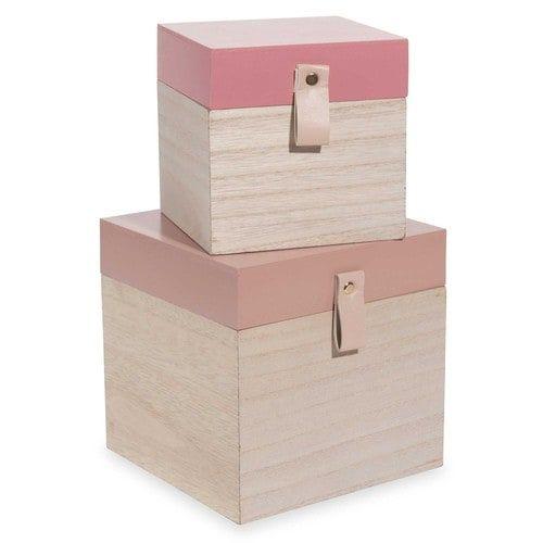 2 boîtes roses L14 et L18 cm DIAMOND PINK