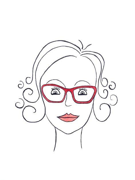 Portrait Frau mit roter Brille, lustig, comicartig, liebevoll, Karikatur, Tusche auf Künstlerpapier Din A4