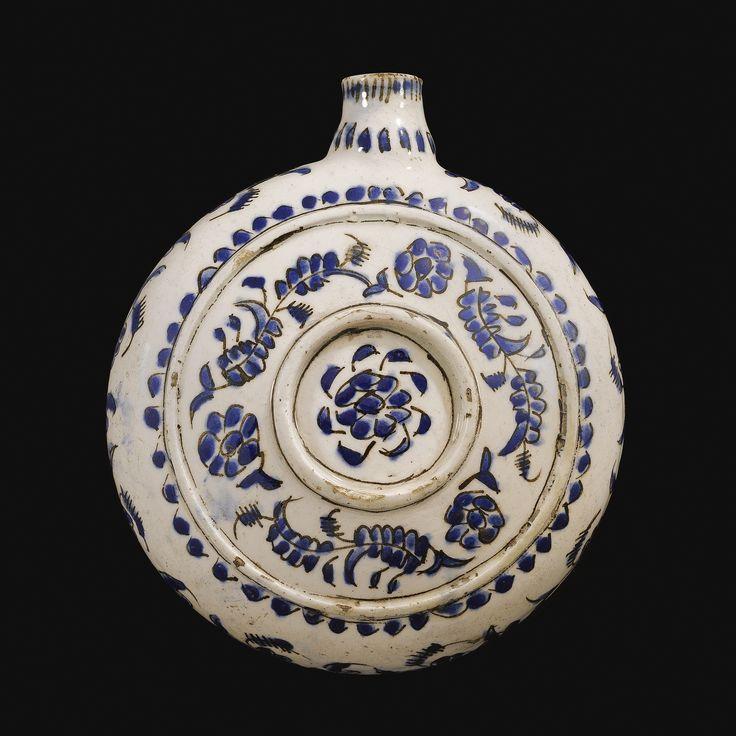 A Kütahya blue and white circular flask (matara), Turkey, 18th Century