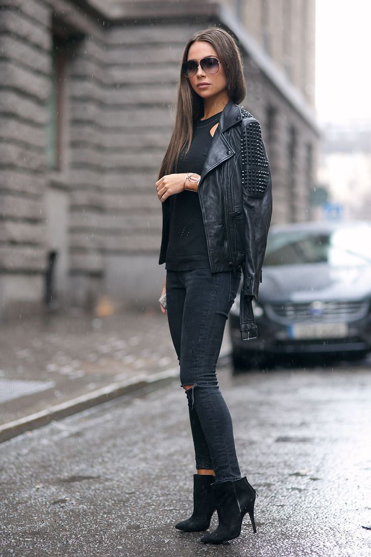 Johanna Olsson is wearing all black, ankle boots from Zara, Jeans from Asos, leather jacket from Stand, and the top is from Belair
