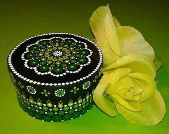 Hand Painted Mandala, Jewelry Box, Mandala Art, Mandala, Zen Art, Decor, Dots, Display, Keepsake Box, Green, Gold, White, Round, Small