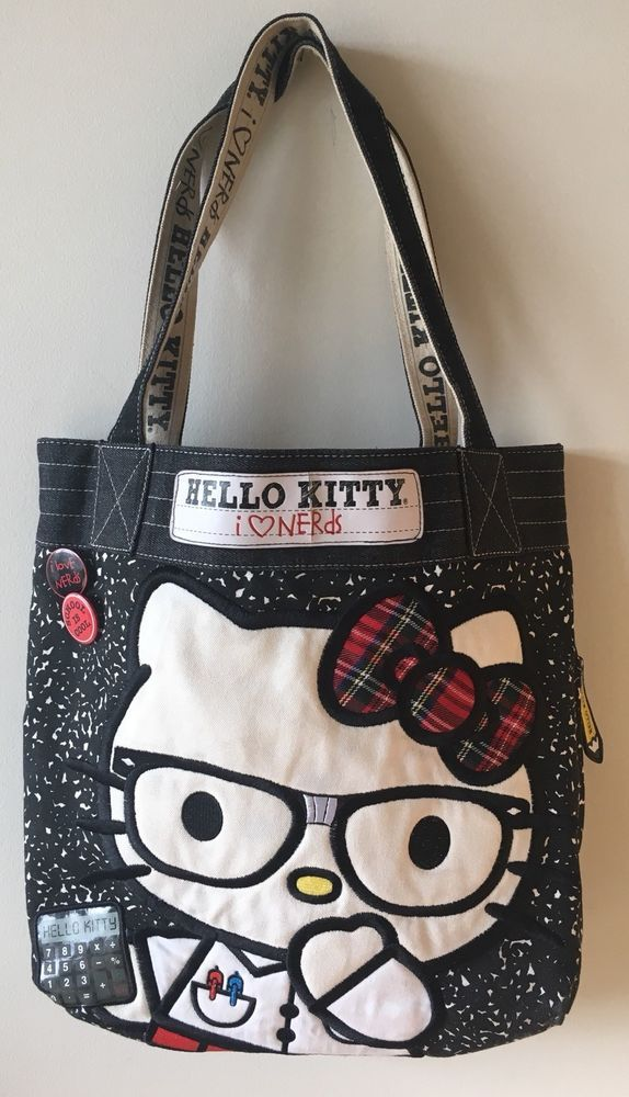 b96b51c57a64 Hello Kitty I Love Nerds tote bag denim notebook Loungefly handbag ...