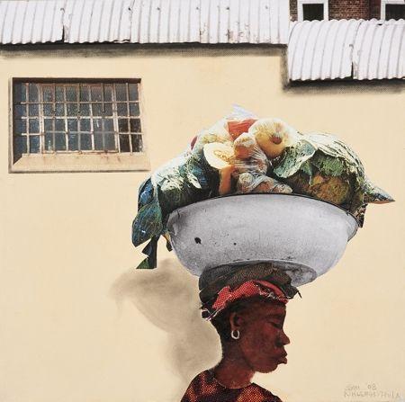 Sam Nhlengethwa Sunday Veggies, 2014 Collage, acrylic and oil on canvas - GOODMAN GALLERY