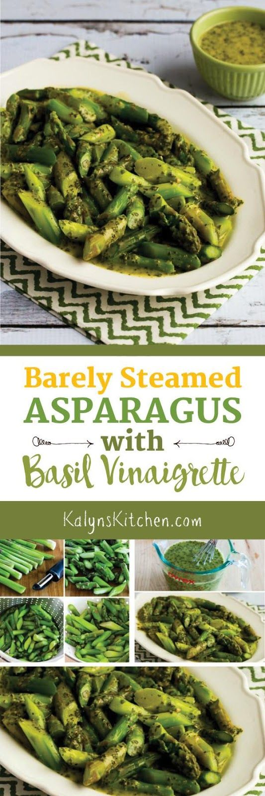 Barely Steamed Asparagus Recipe with Basil Vinaigrette; this is AMAZING and easy to make, and the recipe is low-carb, Keto, gluten-free, vegan, Paleo, and Whole 30. [found on KalynsKitchen.com]