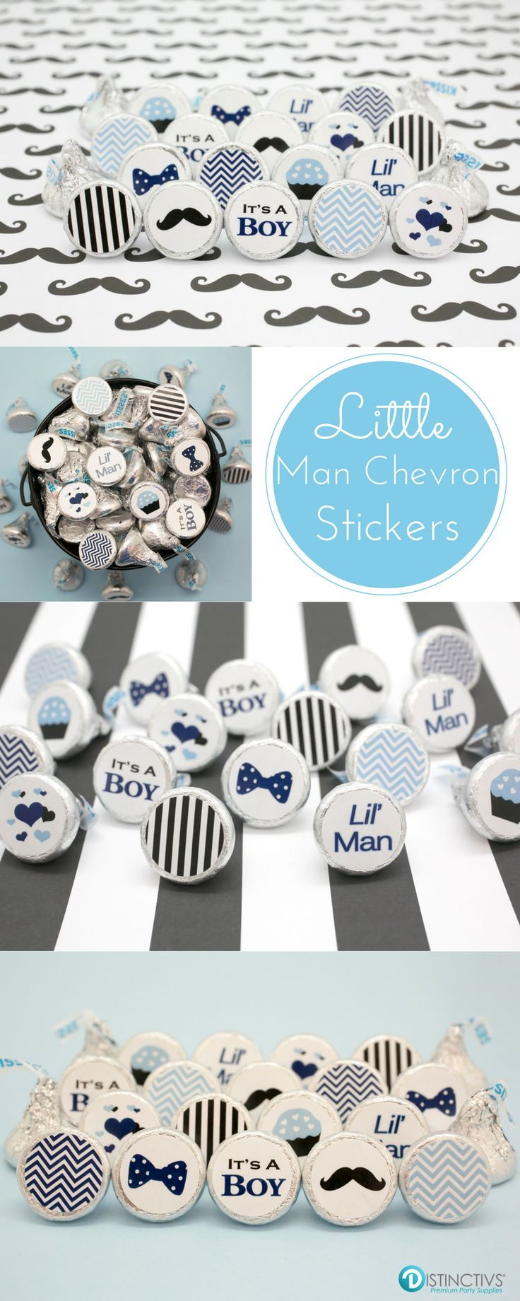 A Little Man is on the way!   Celebrate with blue and black chevrons, bow ties and mustaches.   Creating a yummy and easy party favor is simple with our It's a Boy Little Man Collection stickers for Hershey's Kisses.