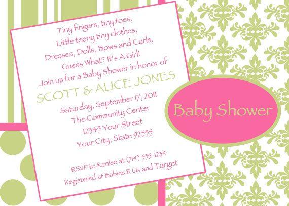 Green & Pink Damask Baby Shower Invitation