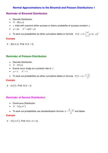 Normal Approximations to the Binomial and Poisson Distributions.doc