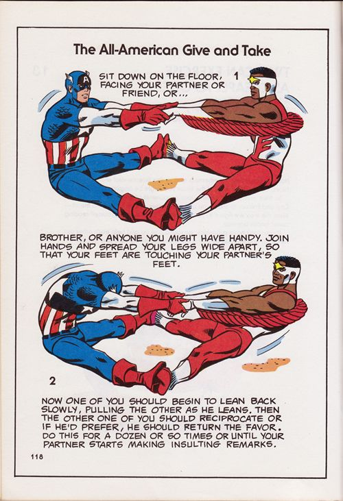 """""""The All-American Give and Take"""" from The Mighty Marvel Comics Strength and Fitness Book"""