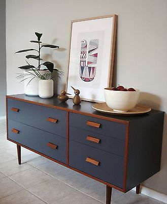 •○• RETRO 1960'S ALROB TEAK CHARCOAL SIDEBOARD / DRAWERS •○• DANISH SCANDI STYLE