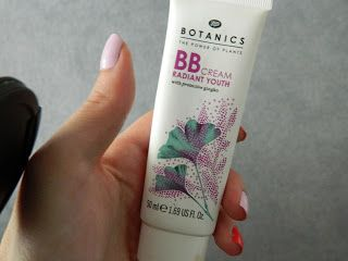 Boots Botanics BB Cream, Radiant Youth.  This is only the 2nd BB cream I've tried (the first was No7) but I'm pretty impressed with it. Although it only comes in a limited amount of shades (I've only seen two but there may be a third), it gives good coverage for a BB cream, feels and smells nice and is light enough to wear every day. Cheap too!