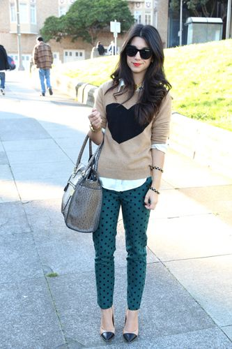 heart sweater and polka dot pants