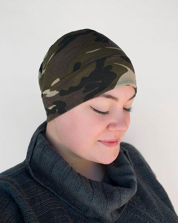 Camo Chemo Beanie muts Headwear  zacht katoen door AllThingsBlooming