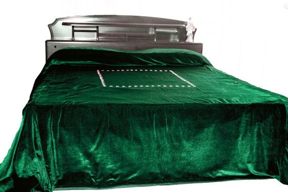 Luxury Bedspread In Dark Green Velvet Couture Bed Linen