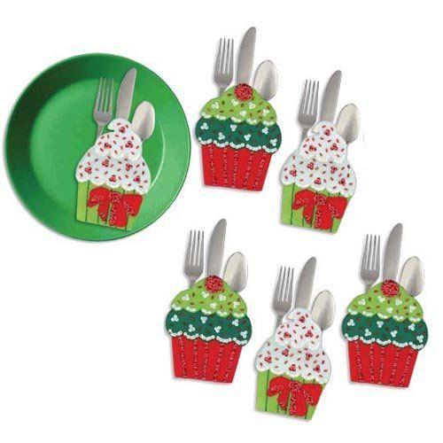 Holiday silverware holders christmas cupcake