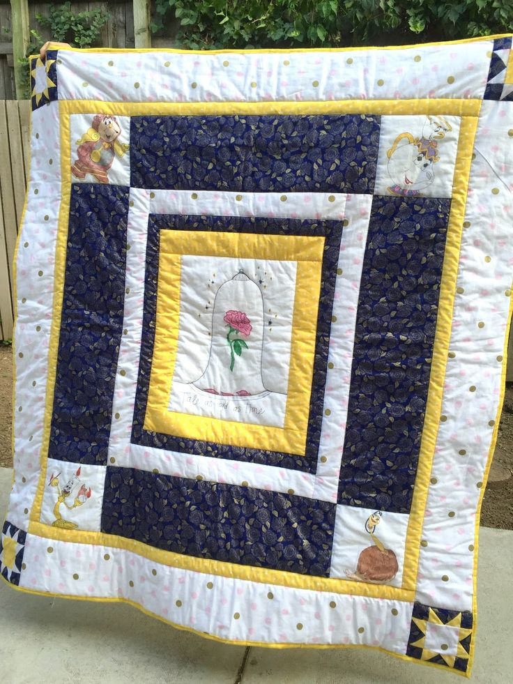 Beauty and the Beast quilt. Really simple with some fun blocks. It's so easy to do and looks so fun! #Disney #quilt