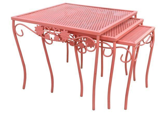 Midcentury Iron Stacking Tables, S/3
