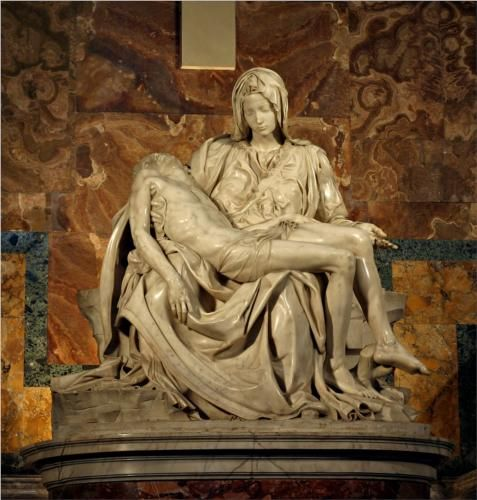 Pieta, Artist: Michelangelo  Completion Date: 1499  Place of Creation: Florence, Italy  Style: High Renaissance  Genre: sculpture  Dimensions: 174 x 195 cm  Gallery: St. Peter's Basilica, Vatican, Rome, Italy  Tags: Christianity, Jesus-Christ, Pietà, Virgin-Mary
