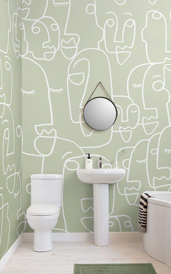 Fototapete Großes Gesicht Salbeigrün Murals Wallpaper Green Bathroom Decor Mural Wallpaper Small Bathroom Wallpaper